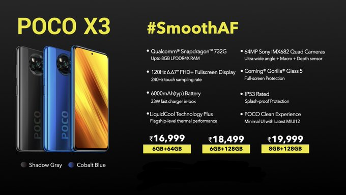 Poco x3 price in india