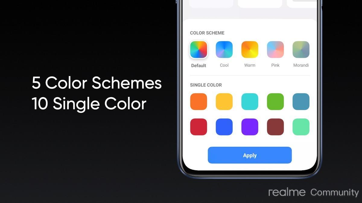 Realme UI 2.0 Update Global colour schemes