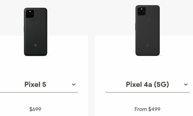 Google Pixel 4a 5g price vs Pixel 5 price