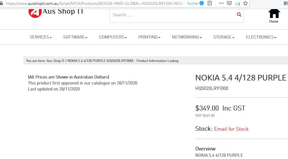 Nokia 5.4 Price In Australia