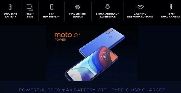 Moto E7 Power specs sheet