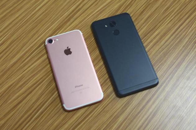 iphone 7 versus vernee m5, comparatie la nivel de design (p)