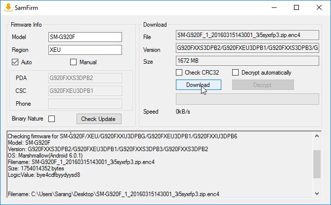 Download Samsung Galaxy Full Firmware using SamFirm
