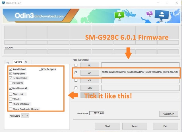odin software usage re-partiton and Nand erase