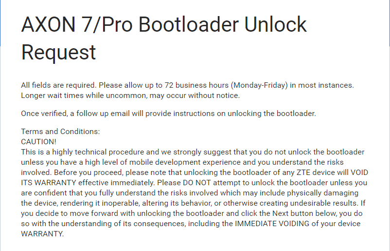 how to unlock bootloader on zte axon pro and axon 7 fill form