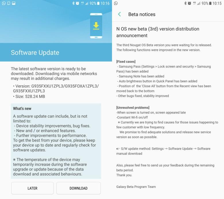 S7 Nougat Beta 3 PL3 Samsung Experience 8 firmware screenshot