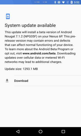 Android 7.1.2 Nougat beta for Nexus 6P