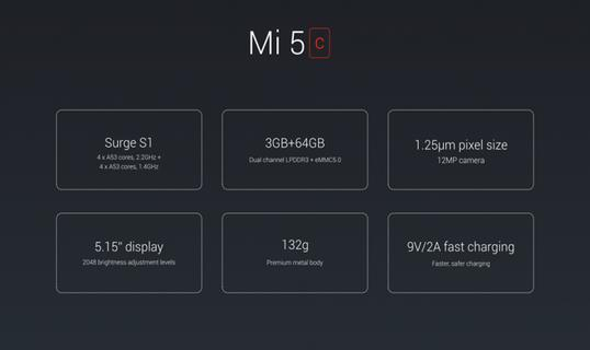 Mi 5c specifications