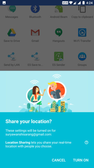 Google Maps turn on real-time location sharing