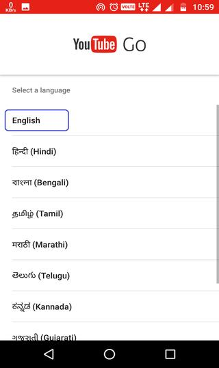 select language YouTube Go