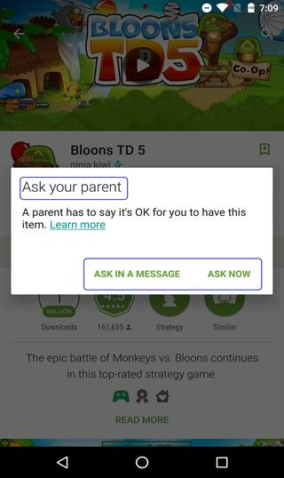 app installation request to parent