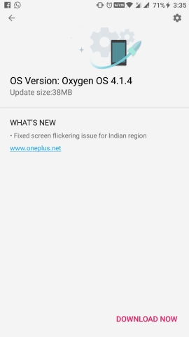 Oxygen OS 4.1.4 for OnePlus 3 OTA update downloads