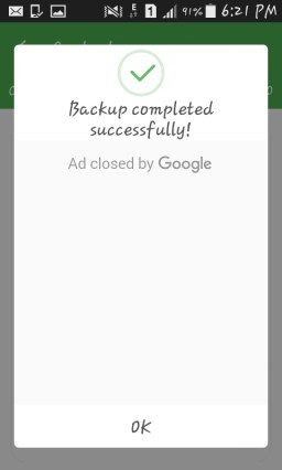 backup completed message