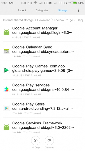 Latest Gapps for MIUI 9 zip