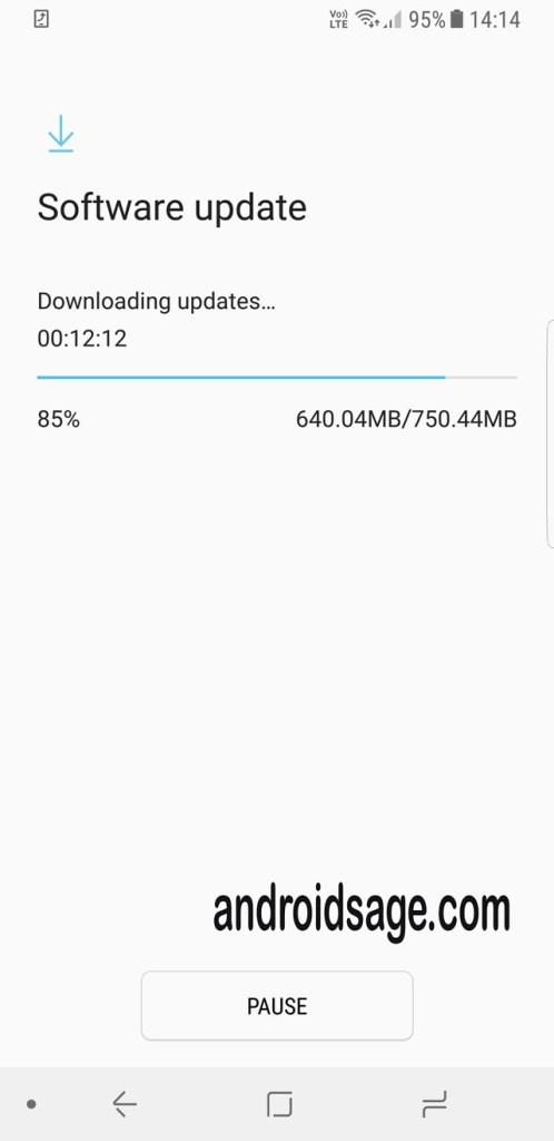 Samsung Galaxy S8 Plus latest update G950FXXU1AQG5 screenshot