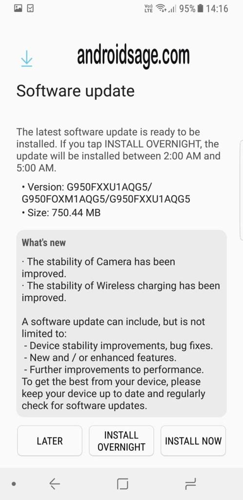 Samsung Galaxy S8 Plus latest update G950FXXU1AQG5 screenshot2