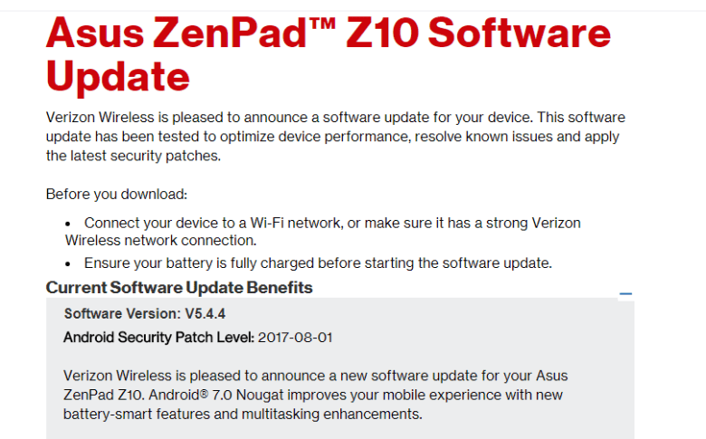 Asus Zenpad Z-10 Receiving Android 7 0 Nougat with August