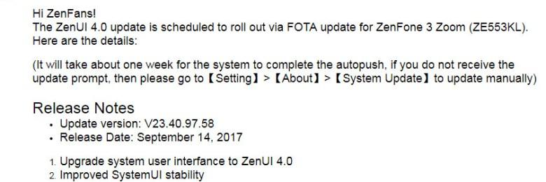 ZEN UI 4.0 update for Zenfone 3 Zoom