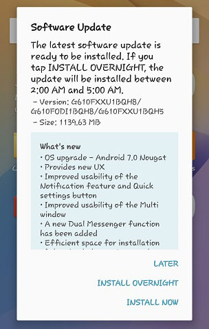 7.0 Nougat Update for Galaxy On Nxt