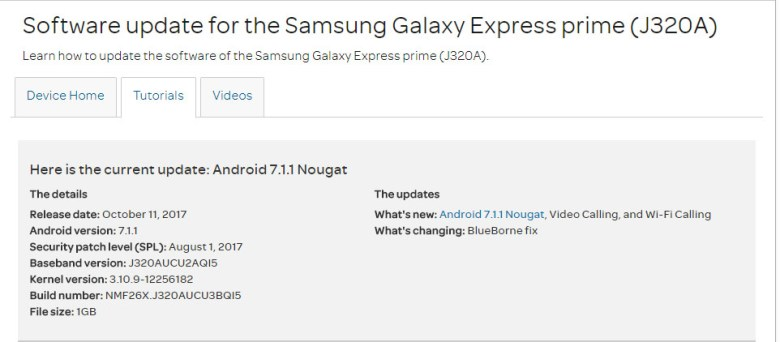 Android 7.1.1 Nougat update for AT&T Galaxy Express Prime