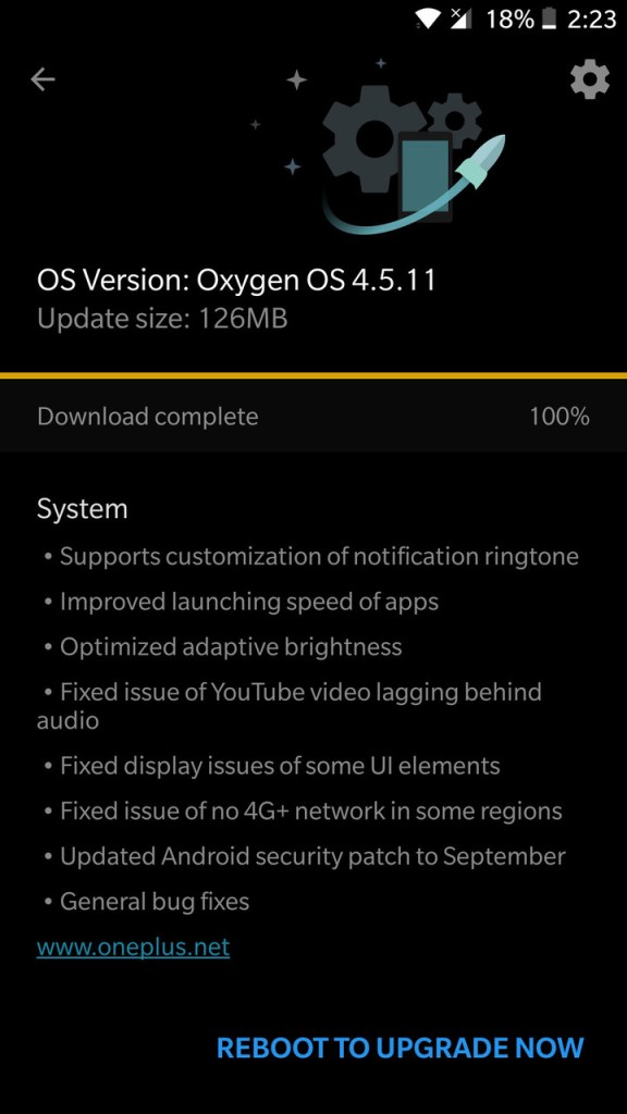 Download OnePlus 5 Oxygen OS 4.5.11 with September 2017 Security Patch OTA