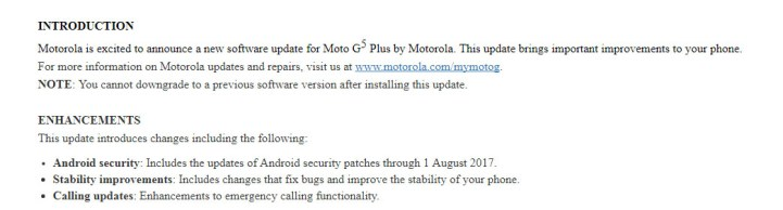 August 2017 firmware update for Moto G5 Plus