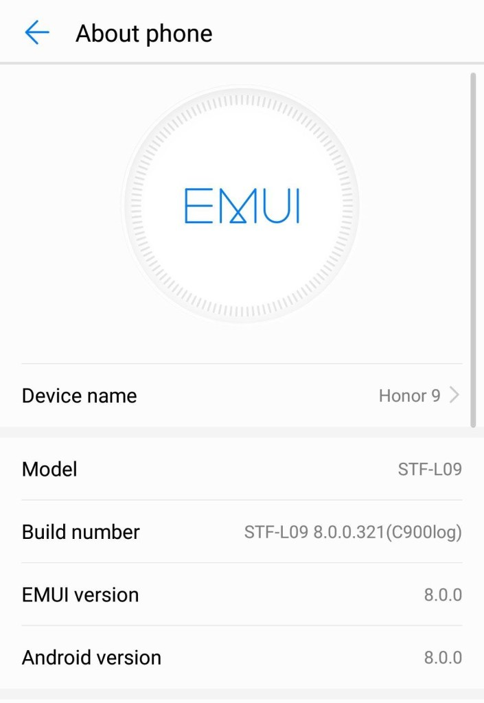Android Oreo for Huawei Honor 9