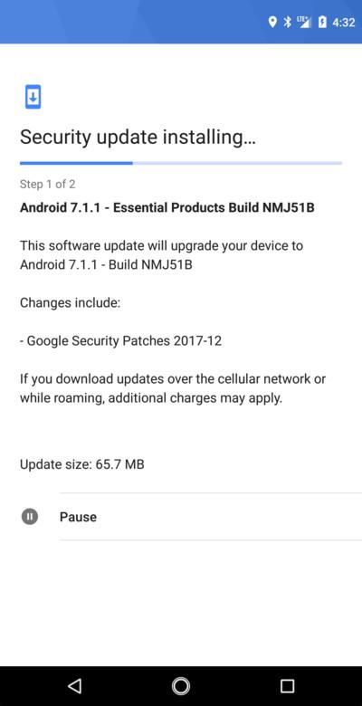 Essential Phones December Security Patch NMJ51B OTA update