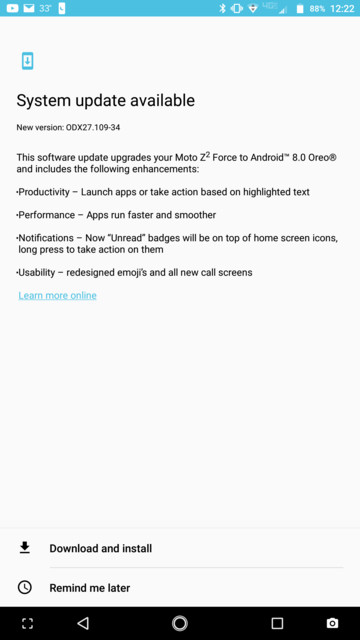 US Verizon Moto Z2 Force Oreo 8.0 OTA update