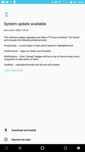 US Verizon Moto Z2 Force Oreo 8.0 OTA update