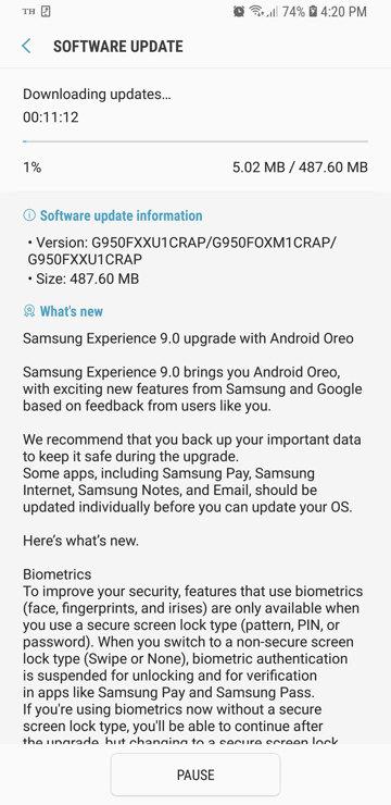 Samsung Galaxy S8+ G950FXXU1CRAP OTA update download