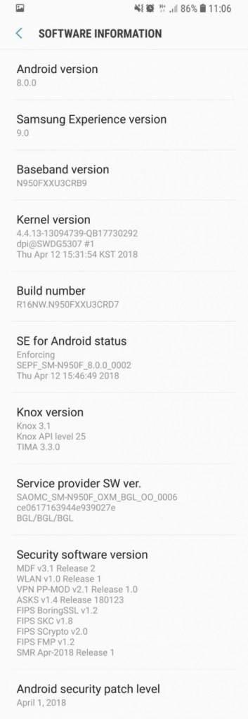 Galaxy Note 8 April 2018 Android security patch N950FXXU3CRD7