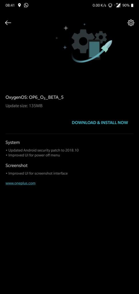 Open Beta 5 for OnePlus 6