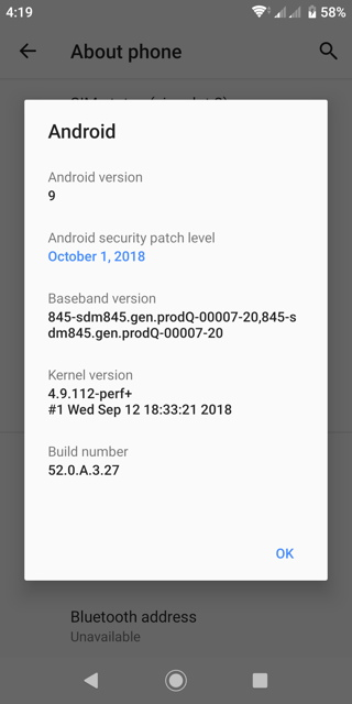 Sony Xperia XZ2 Android 9.0 Pie OTA update4