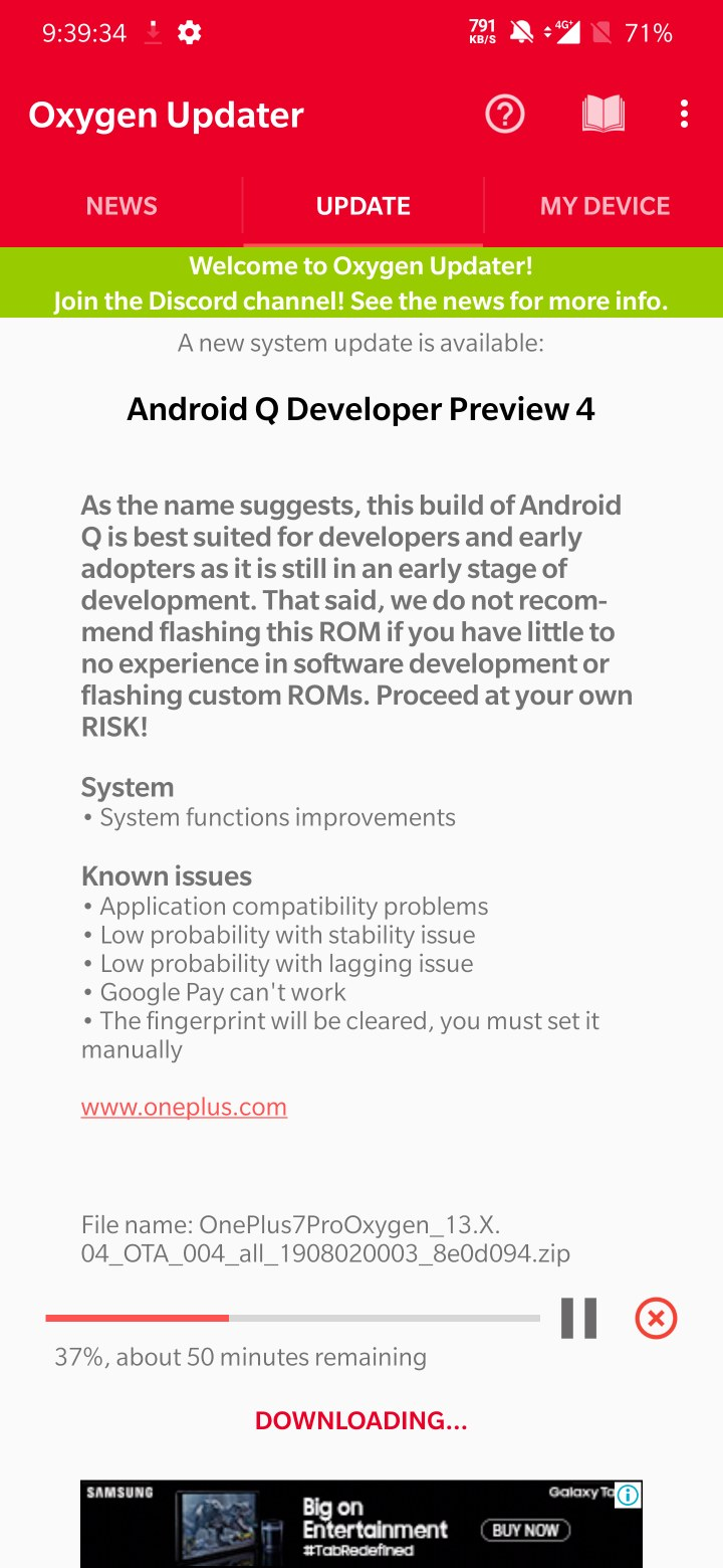 Android Q developer preview 4 for oneplus phones