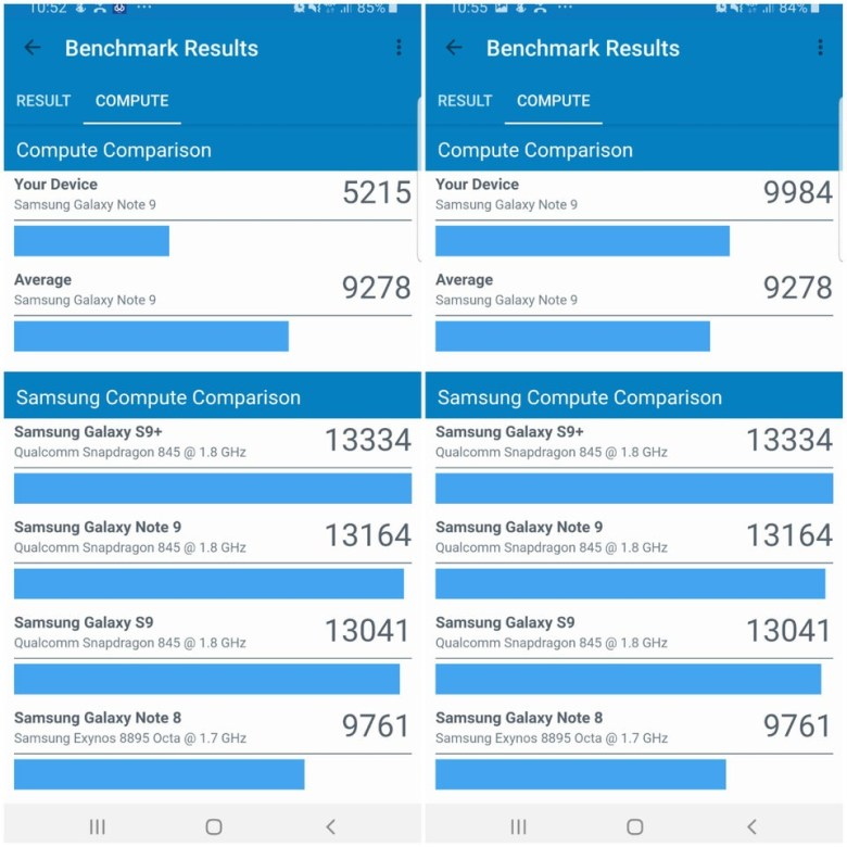 samsung galaxy note 9 benchmarks before and after disabling intelligent scan