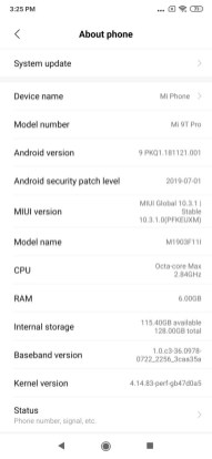 K20 pro latest ota update screenshots
