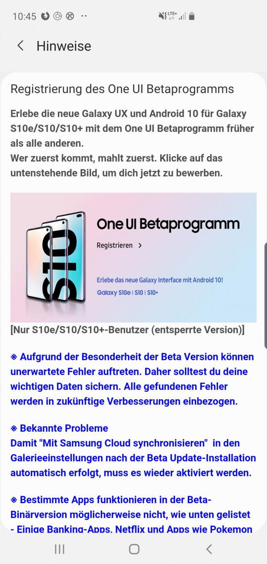 Galaxy S10 (SM-G97xF) OFFICIAL OneUI 2 or Android 10 beta in Germany
