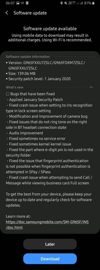 Android 10 Beta 4 update for Samsung Galaxy S9 plus