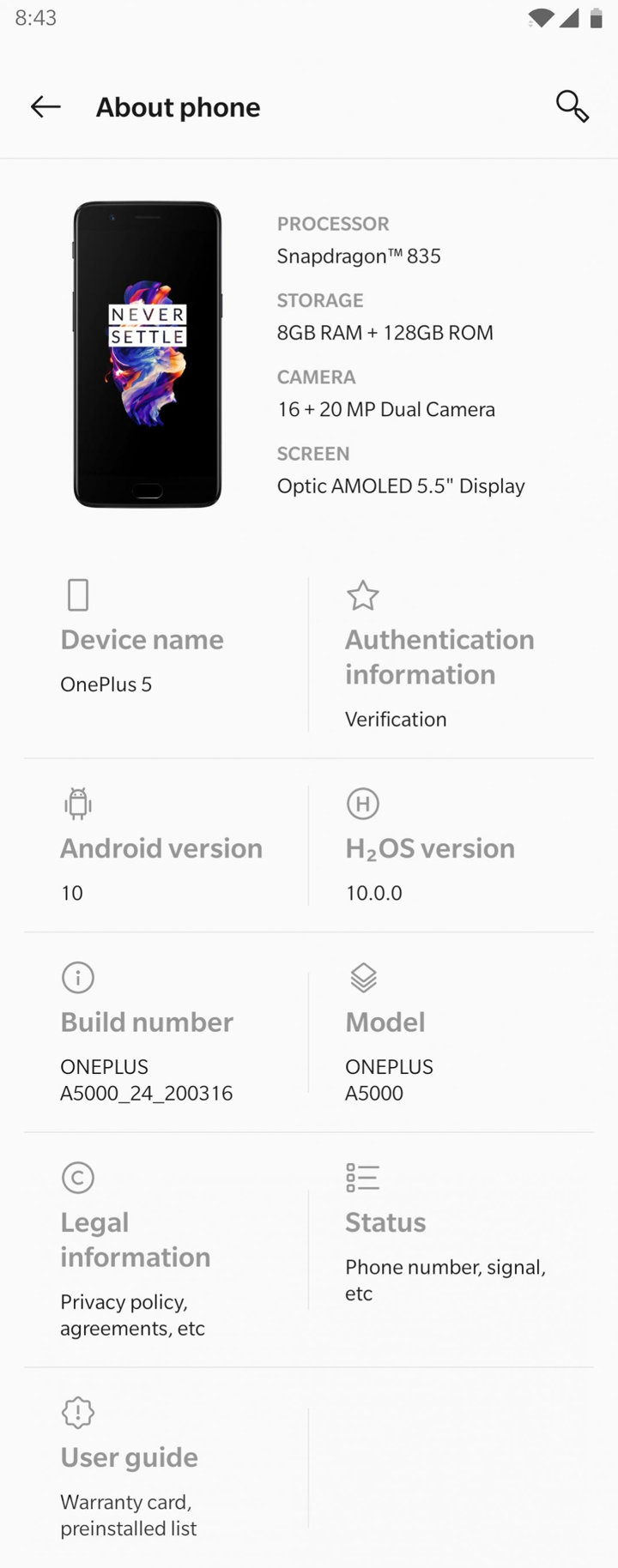 Android 10 for OnePlus 5 Screenshot