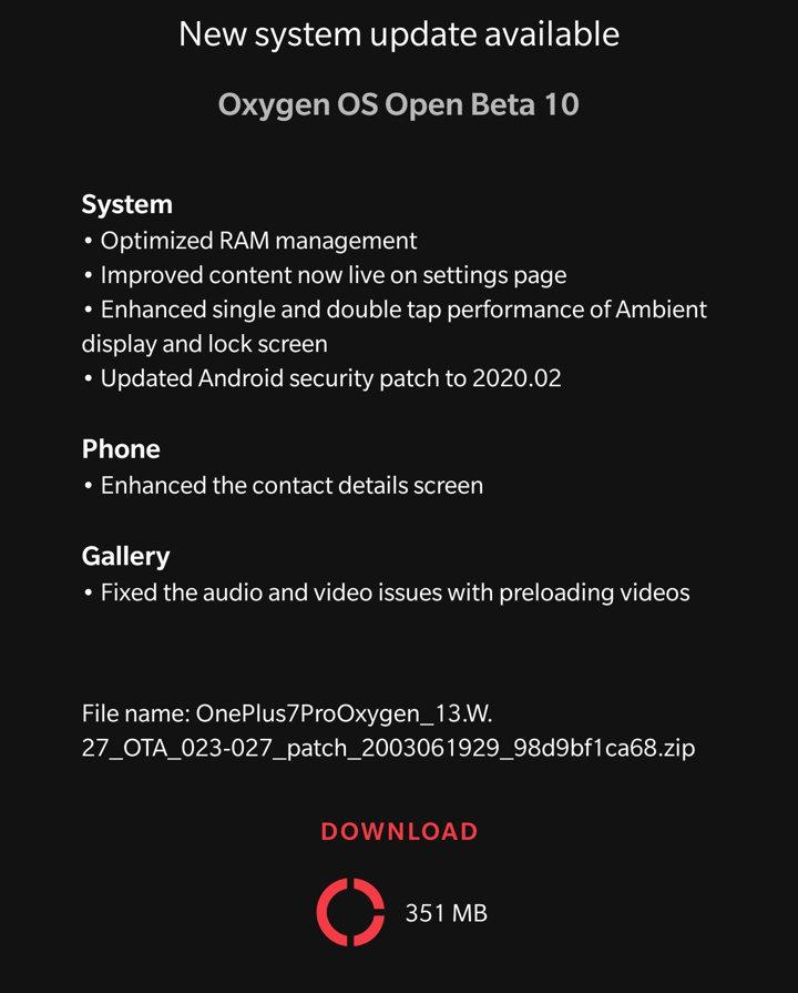 Open Beta 10 OTA update for OnePlus 7 and 7 Pro