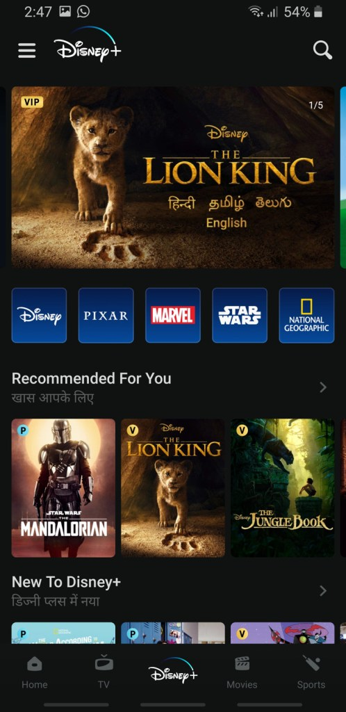Screenshot Disney + Plus Hotstar 2