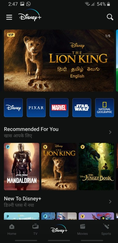 Screenshot Disney + Plus Hotstar 2