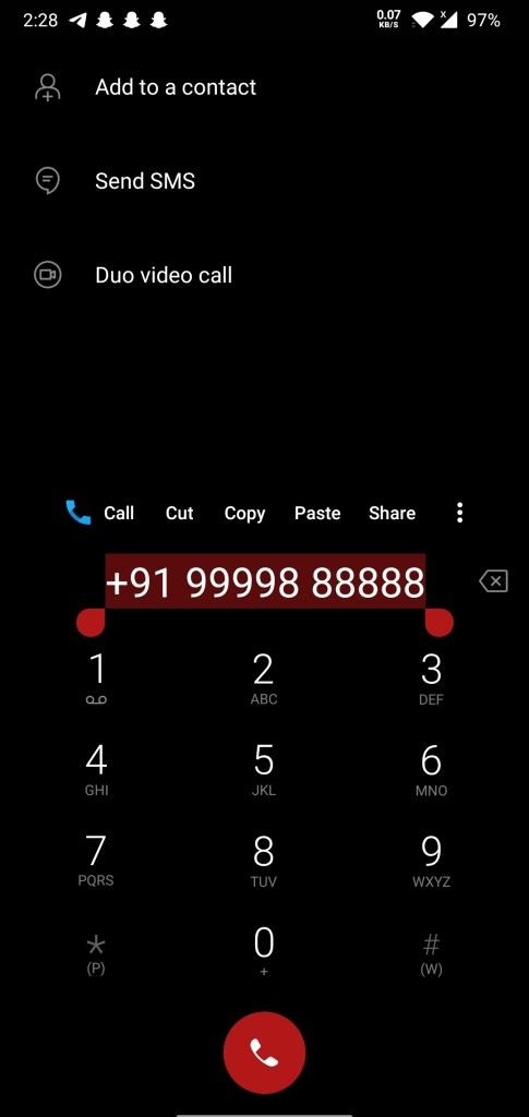 tap and hold to select the number