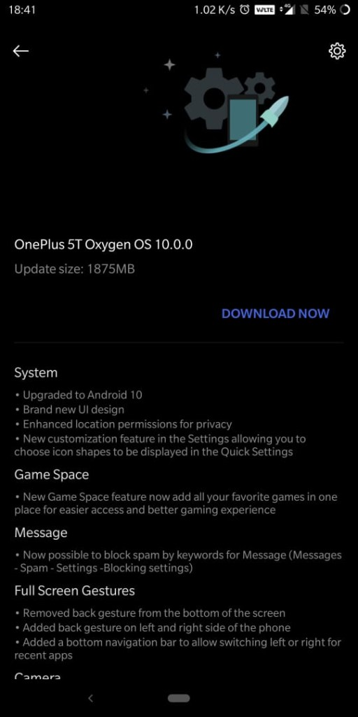 Oxygen OS 10 Android 10 ota update for oneplus 5t