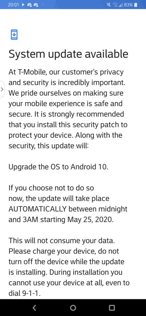 T-Mobile LG V40 ThinQ Android 10 OTA updates