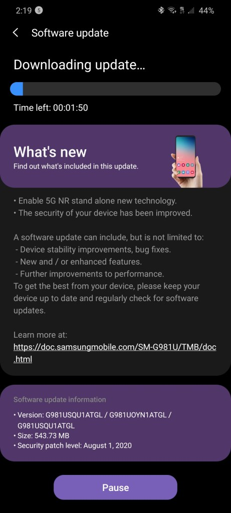 T Mobies Standalone 5G Network update for Samsung Galaxy S20 with ATGL firmware