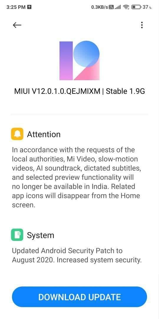 Xiaomi Poco F1 Receives MIUI 12.0.1.0 OTA update changelog