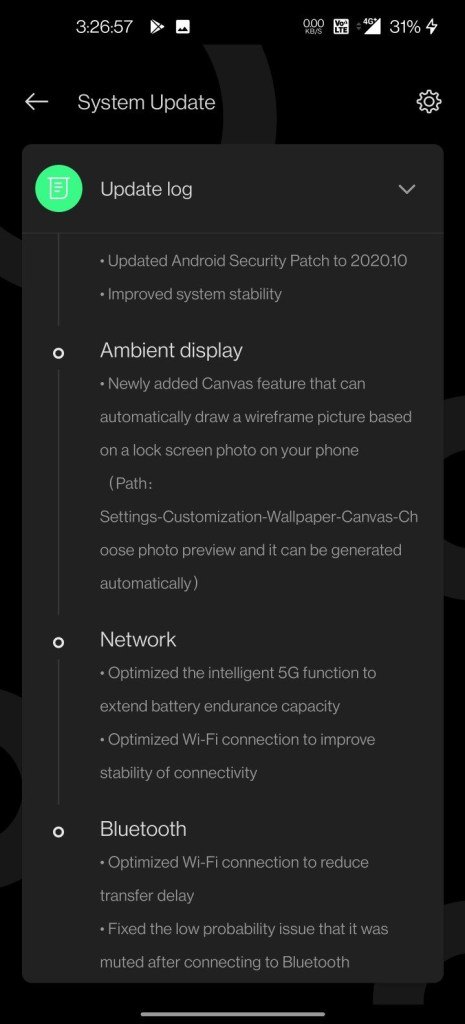 Oxygen OS 11.0.1.1 for oneplus 8 and 8 pro changelog