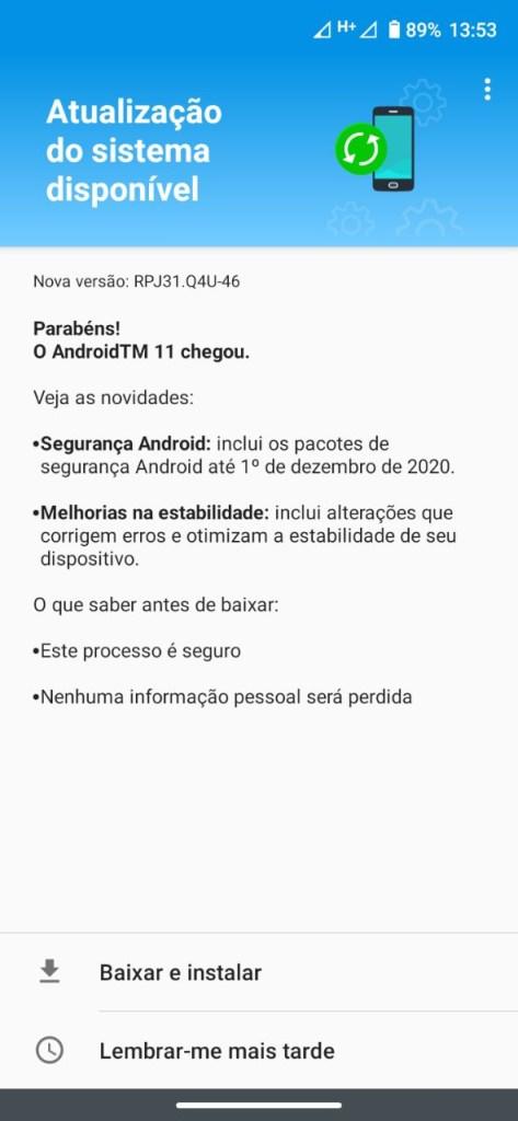 Moto G8 Android 11 OTA update